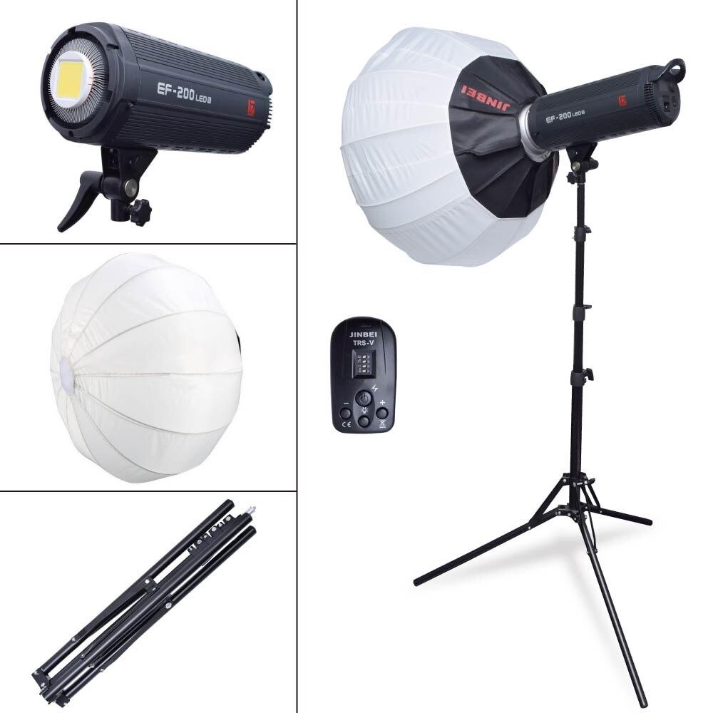 Jinbei EF-200 5500K Studio LED Continuous Light Lamp Bowens Mount with w/ TRS-V Trigger + 65cm Softbox +185cm Light Stand Kit осветитель fst ef 100 led sun light 5500k