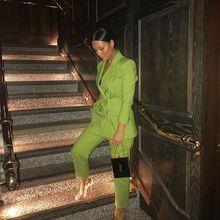 Пиджак+ брюки для женщин Деловые костюмы трава зеленая двубортная офисная форма вечернее свадебное Формальное Дамы брючный костюм W223