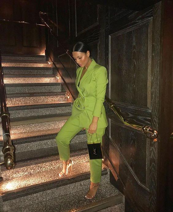 Chaqueta + Pantalones mujer trajes de negocios hierba verde doble Breasted Oficina uniforme noche Formal damas pantalones traje W223