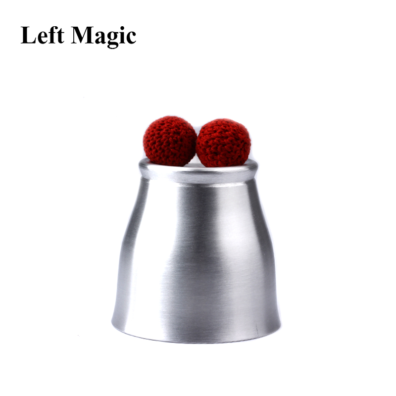 Aluminum Chop Cup (Large Size , Silver) - Magic Tricks Deluxe Wide Mouth Cup And Balls  Close Up Magic Props Magnetic Mentalism