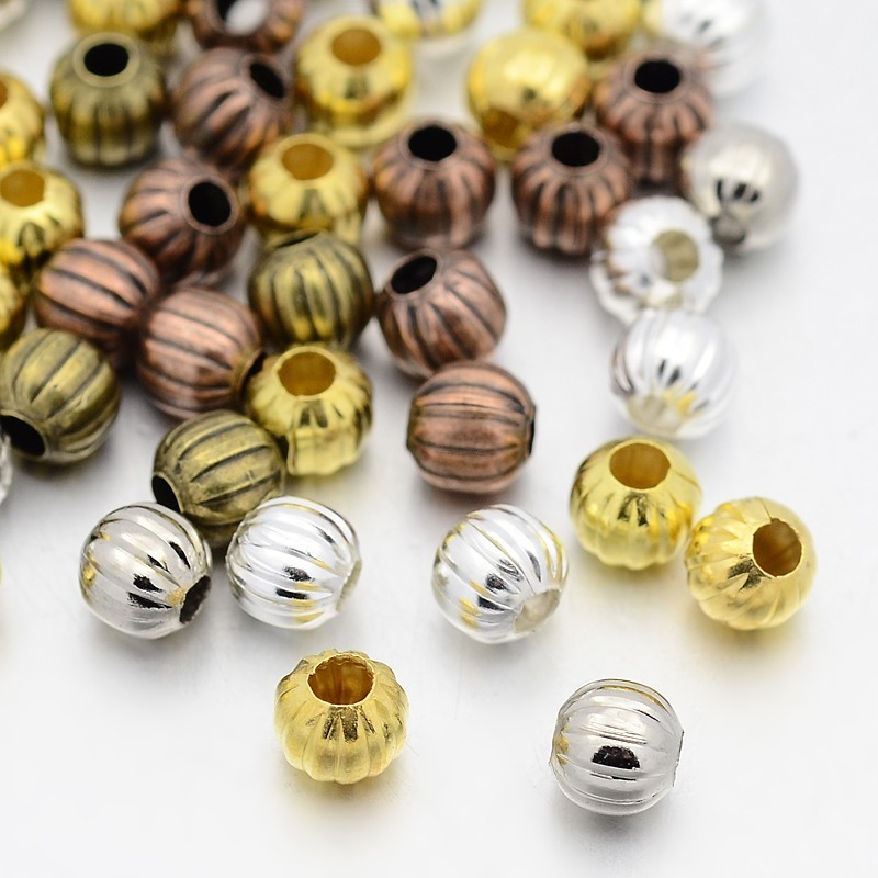 8mm Iron Corrugated Round Beads For Jewelry Making Necklace Trinket Accessories Mixed Color, Hole: 2.5mm;about 354pcs/200g F80