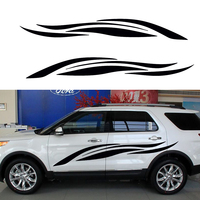 2 X Freedom Fluttered Ribbon Striped Abstract Art Car Sticker For Camper Van RV SUV Trailer