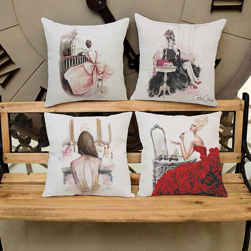 Post-modern Fashion Make-up Lady Girls Print Sofa Decorative Pillow For Garment Shops Cotton Linen Square Cushion for Car 45x45