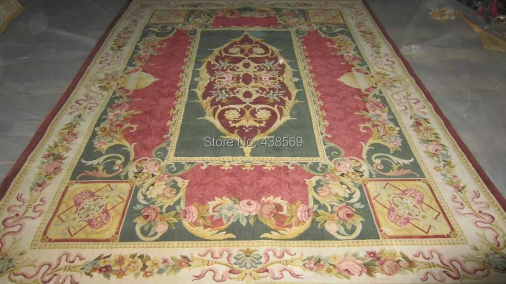무료 배송 8'x10 '90 라인 로얄 Savonnerie 깔개 손 매듭 카펫