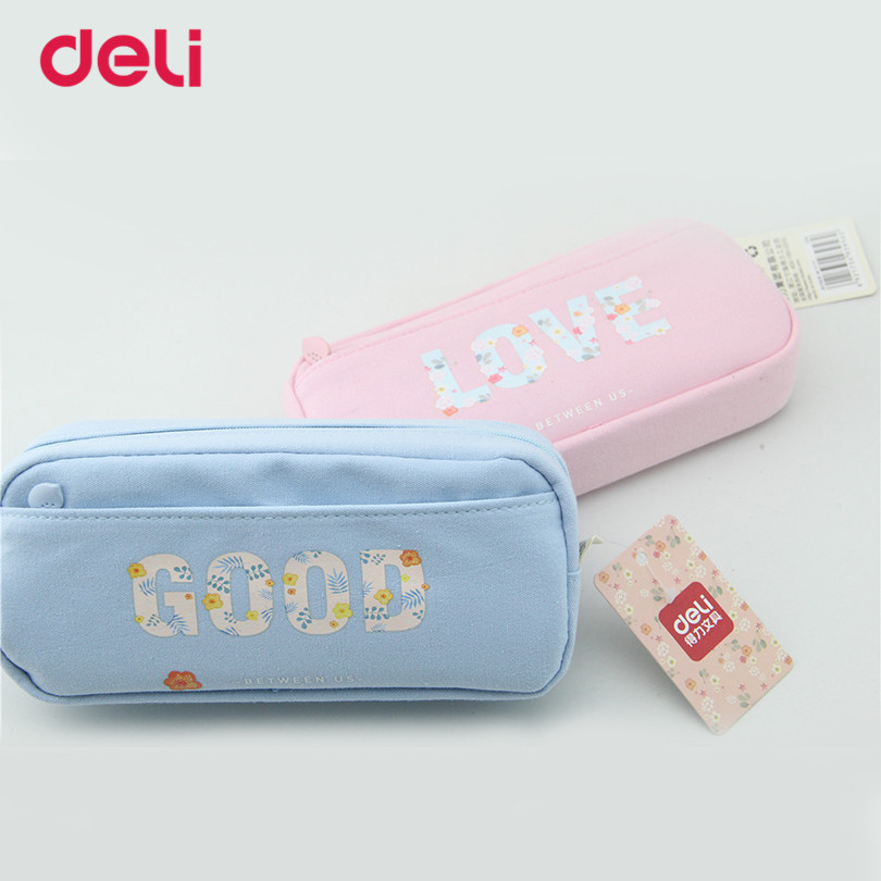 Deli Cute Pencilcase for girl Kids Gift pen case for school Stationery supplies kawaii pencil bag box school pen pouch kid Gift cute girl penalty pencil case with lock big capacity pu korean stationery for girls pen bag pouch pencilcase school supplies
