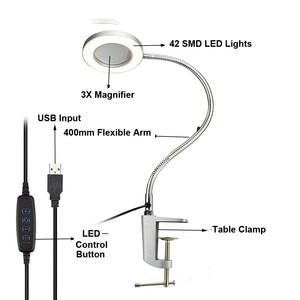 Image 2 - NEWACALOX מגדלת זכוכית USB 3X ספסל מלחציים שולחן מהדק זכוכית מגדלת LED אורות גמיש מנורת שולחן לקריאה עבודה תאורה