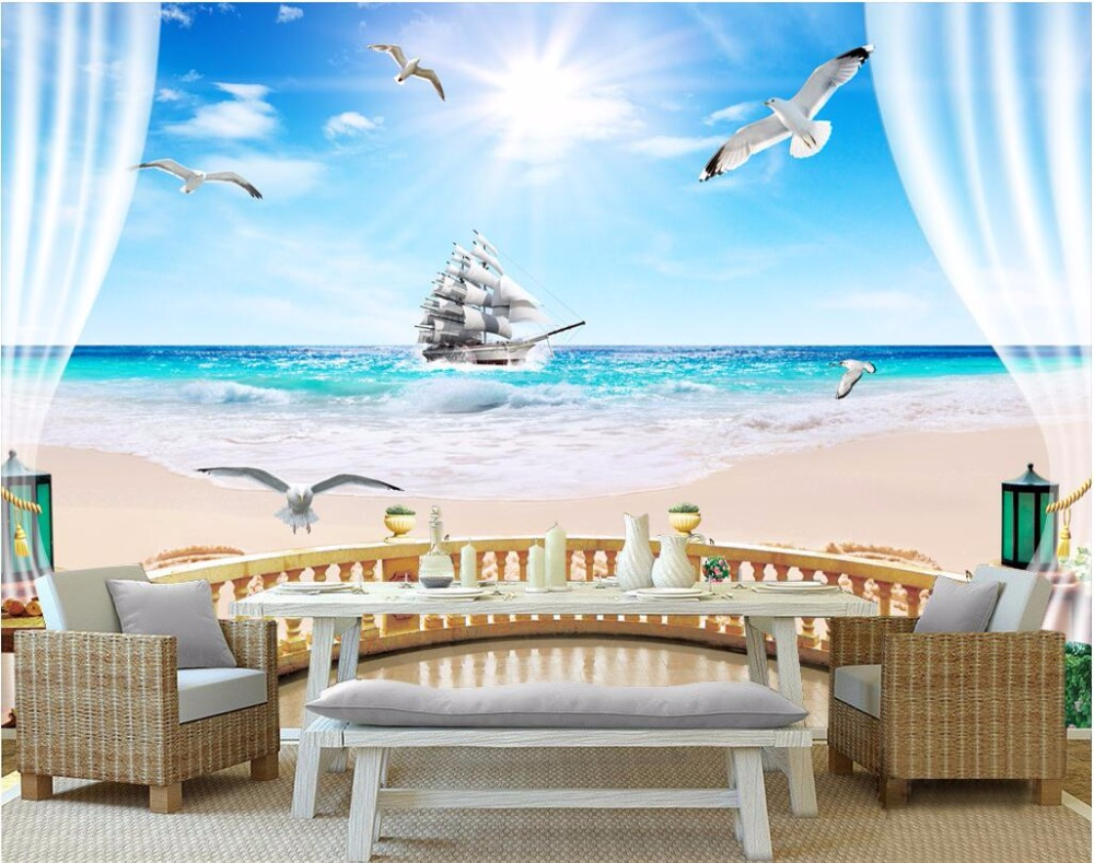 цена Custom mural 3d wallpaper balcony sea sailing photo wall paper room decor painting 3d wall murals wallpaper for walls 3 d онлайн в 2017 году
