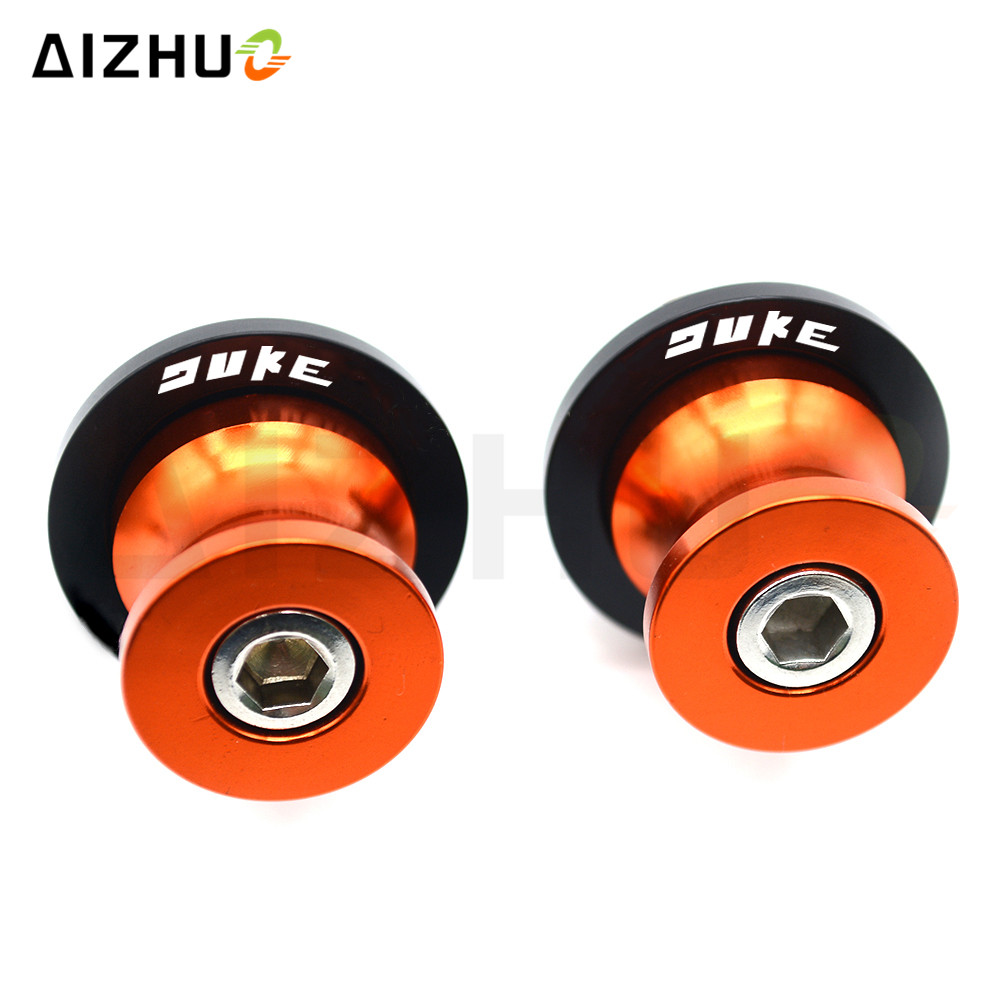 For KTM DUKE 125 200 390 690 990 Adventure Super Duke Motorcycle Swingarm Sliders Spools 10mm motorbike CNC Aluminum Stand screw