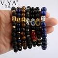 Mix Budda Palm Skull Bracelets Bangles  DIY Jewelry for Women Men Natrual Stone Bead Pulseras Mujer