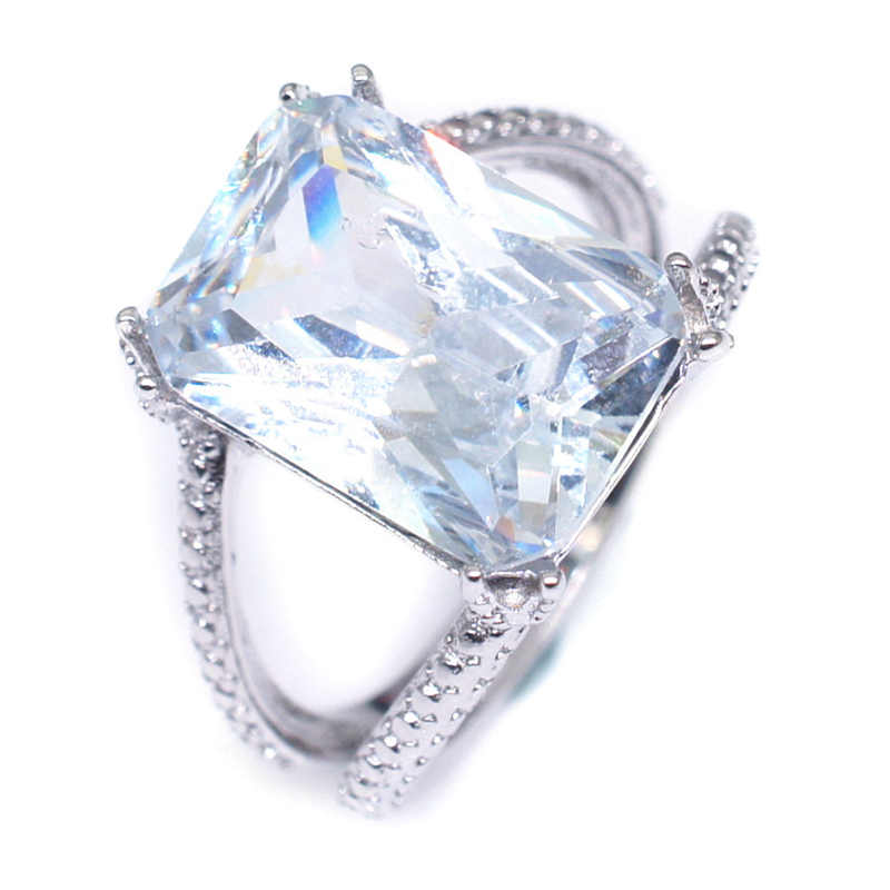 New Women Lady Elegant White Big Rhinestone Crystal Ring Wedding Engagement Rings Best Jewelry
