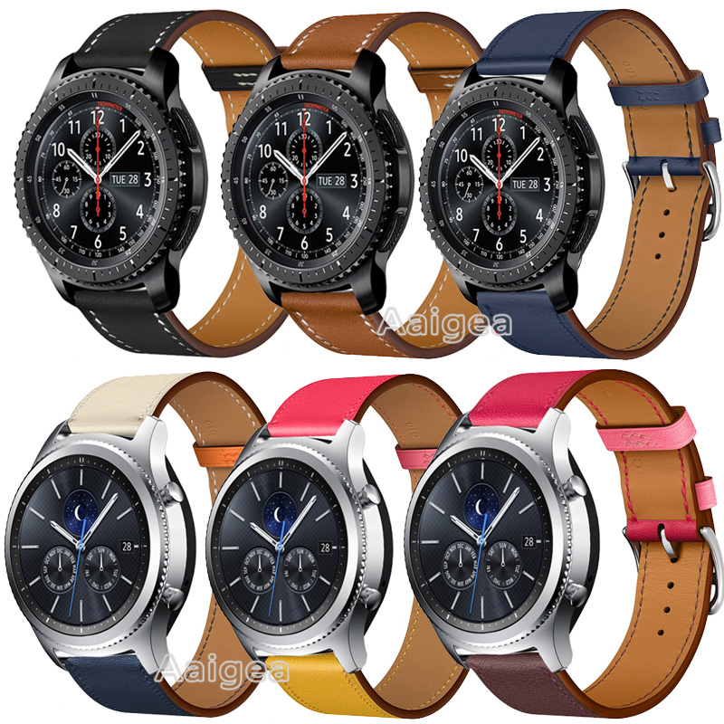 22mm Genuine Leather Watch Band Strap For Samsung Gear S3 Frontier Classic Smart Watch Replacement Wrist Band Strap For Gear S3