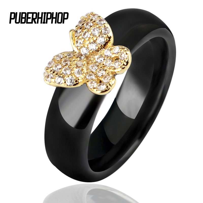 Unique Sale Women Butterfly Ring 6mm Width Black White Ceramic Rings With Bling Rhinestone Gold Silver Rings For Women Wholesale big crystal rings black white smooth ceramic rings with bling big transparent rhinestone women fashion jewelry rings for women