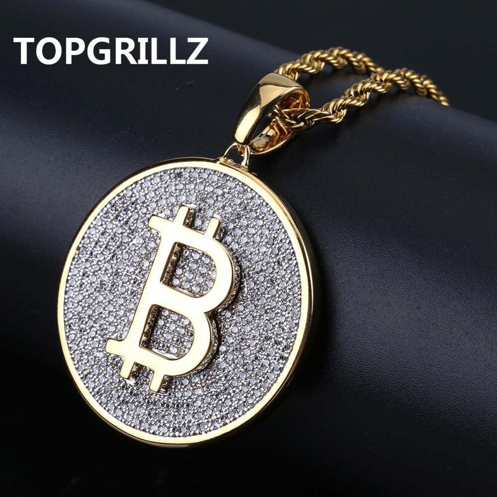 TOPGRILLZ Color oro helado redondo Micro Pave completa de circón cúbico gran Bitcoin colgante collar encanto para las mujeres de los hombres HipHop joyería