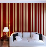 Роскошный красный бархат стекались вертикальные полосы Champagne Gold обои