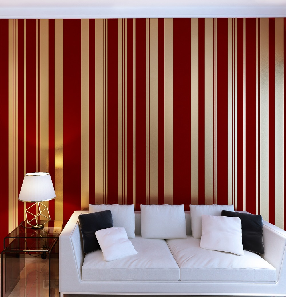 Luxury Red Velvet Flocked Vertical Stripes Champagne Gold Wallpaper velvet flocked