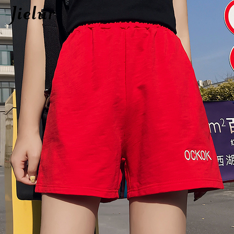 Jielur Summer Shorts Embroidery Elastic-Waist Female Casual Women Black Brief Harajuku
