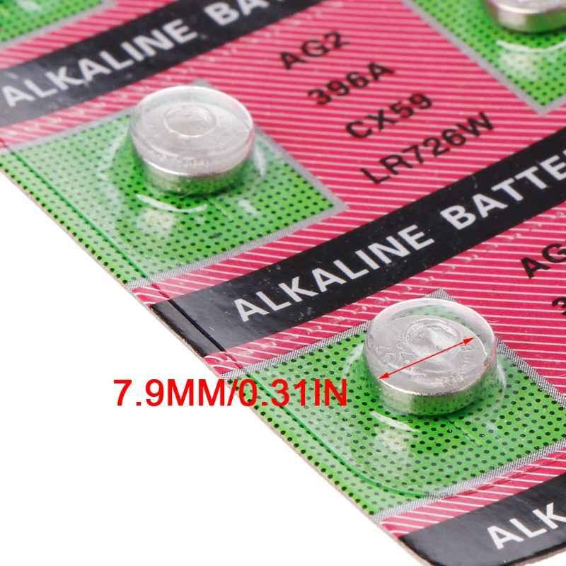 10 Uds baterías alcalinas AG2 1,5 V G2 396A LR726 SR726W GP397 1164SO SR59W SR726 moneda botón reloj relojes de juguete