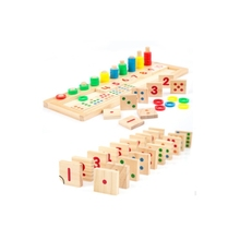 GEEK KING Montessori Wooden Digital Matching Building Blocks Kids EducationalGeometric Assembly Cognitive Toys