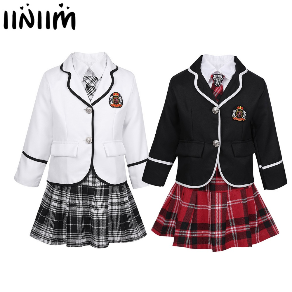 Kids Girls British Style School Uniform Japan and South Korea Anime Costume Suit Long Sleeve Coat with Shirt Tie Mini Skirt Set