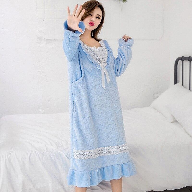 Pregnancy Clothes Maternity Spring Dress Pregnant Women Pajamas Nursing Winter Coral Fleece Breastfeeding Nightgown Sleepwear
