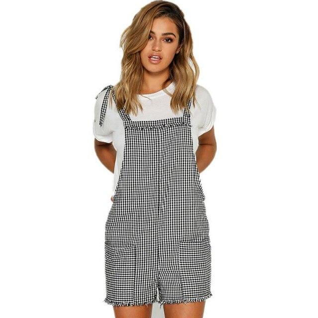 8b1ef9e8d229 Summer EU US Hip Female Casual Plaid Fresh Simple Women Straps Jumpsuits  Overalls Shorts Pants Romper Trousers Playsuits