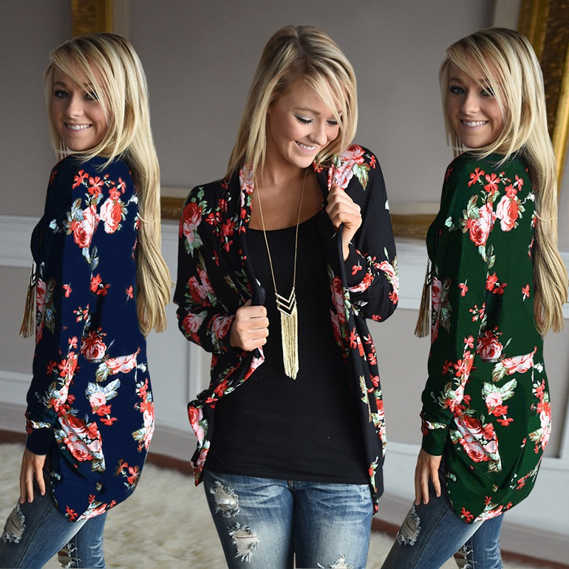 Plus Size 3XL Irregular Women Floral Cardigans Summer Autumn 2018 Fashion Print Long Sleeve Casual Female Sweater KLD1128