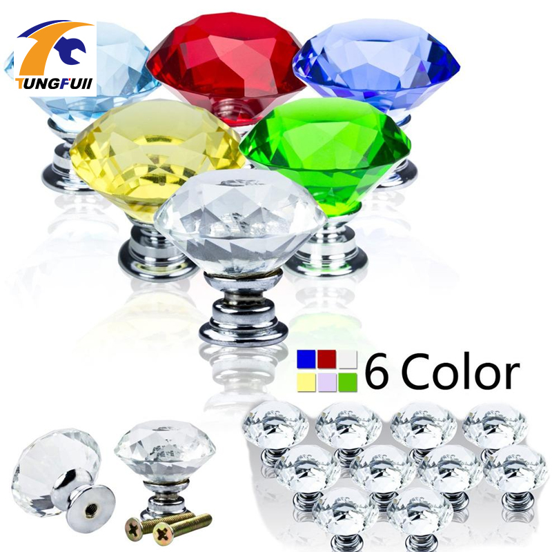 High quantity 20pcs/lot 4 Color 30mm Diamond Shape Crystal Glass Pull Handle Cupboard Cabinet Drawer Door Furniture Knob