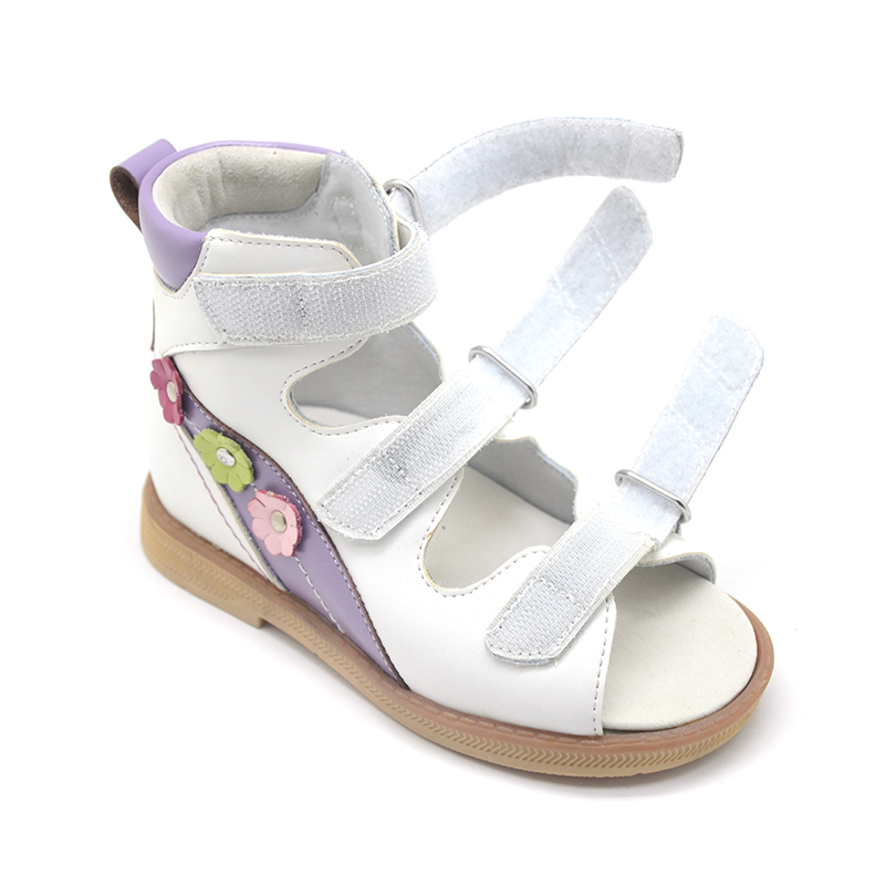 Princepard Need Customize in Advance 20 days white genuine leather sandals baby Orthopedic shoes for girls