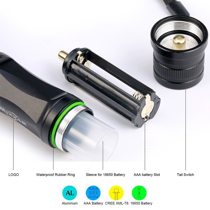 zk10 LED flashlight Tactical Flashlight 9000LM CREE XM-L T6 Zoomable 5 Modes aluminum Lanterna LED Torch Flashlights For Camping