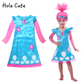 Troll Costumes Easter Children Costumes For Girls Carnival Kids Costumes Summer Girl Dress Trolls Clothes Poppy Party  Wig