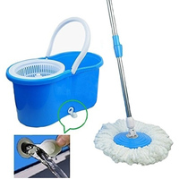 New Practical 360 Degree Rotating Spin Mop Bucket 2 Microfiber Heads Spinning Easy Magic Mops Set