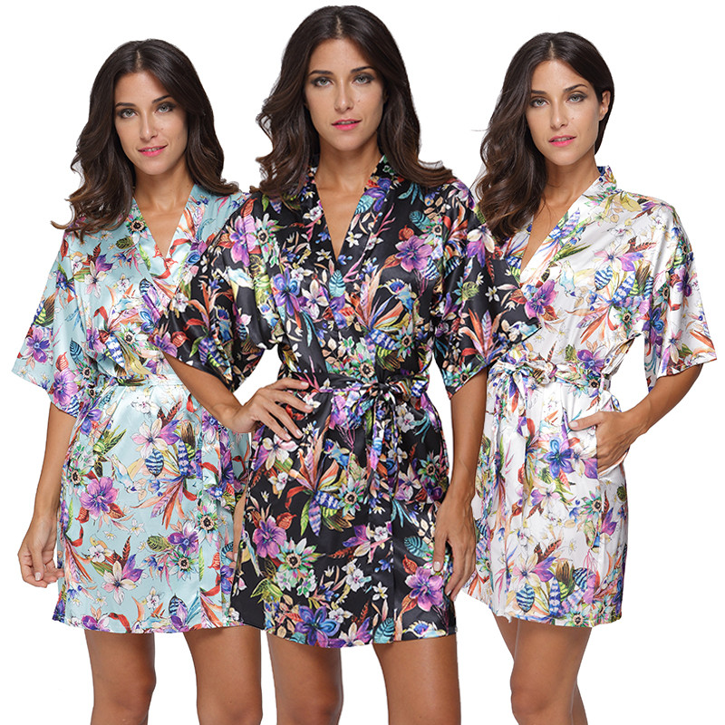 2018 womens rayon silk floral Robe Ladies Pajama Lingerie Sleepwear Kimono Bath Gown pjs Nightgown #4004