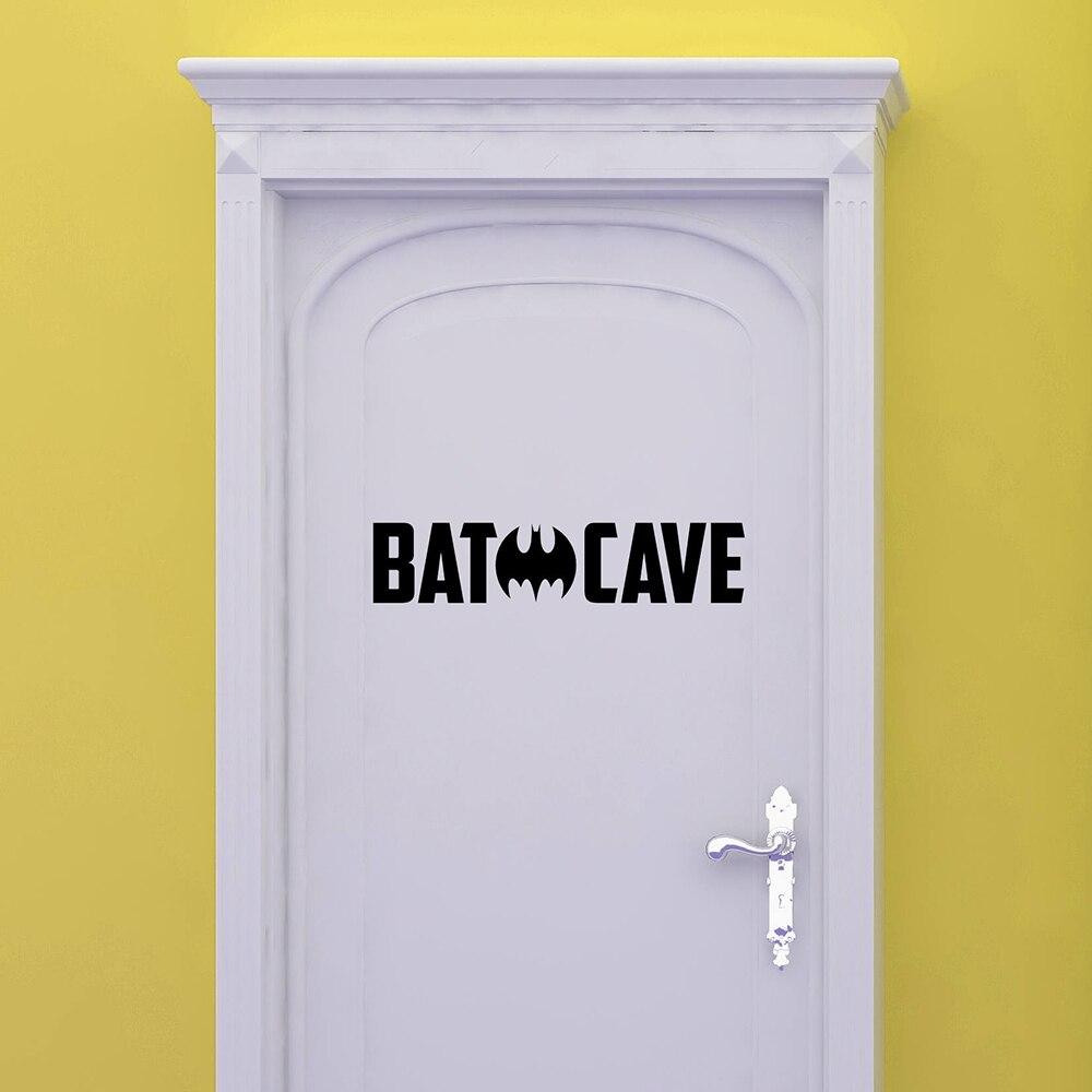 Little Boy Man Cave Wall Stickers Bathroom Decoration Batman Pattern Vinyl Decals Mural Toilet Sticker House Ornament G473