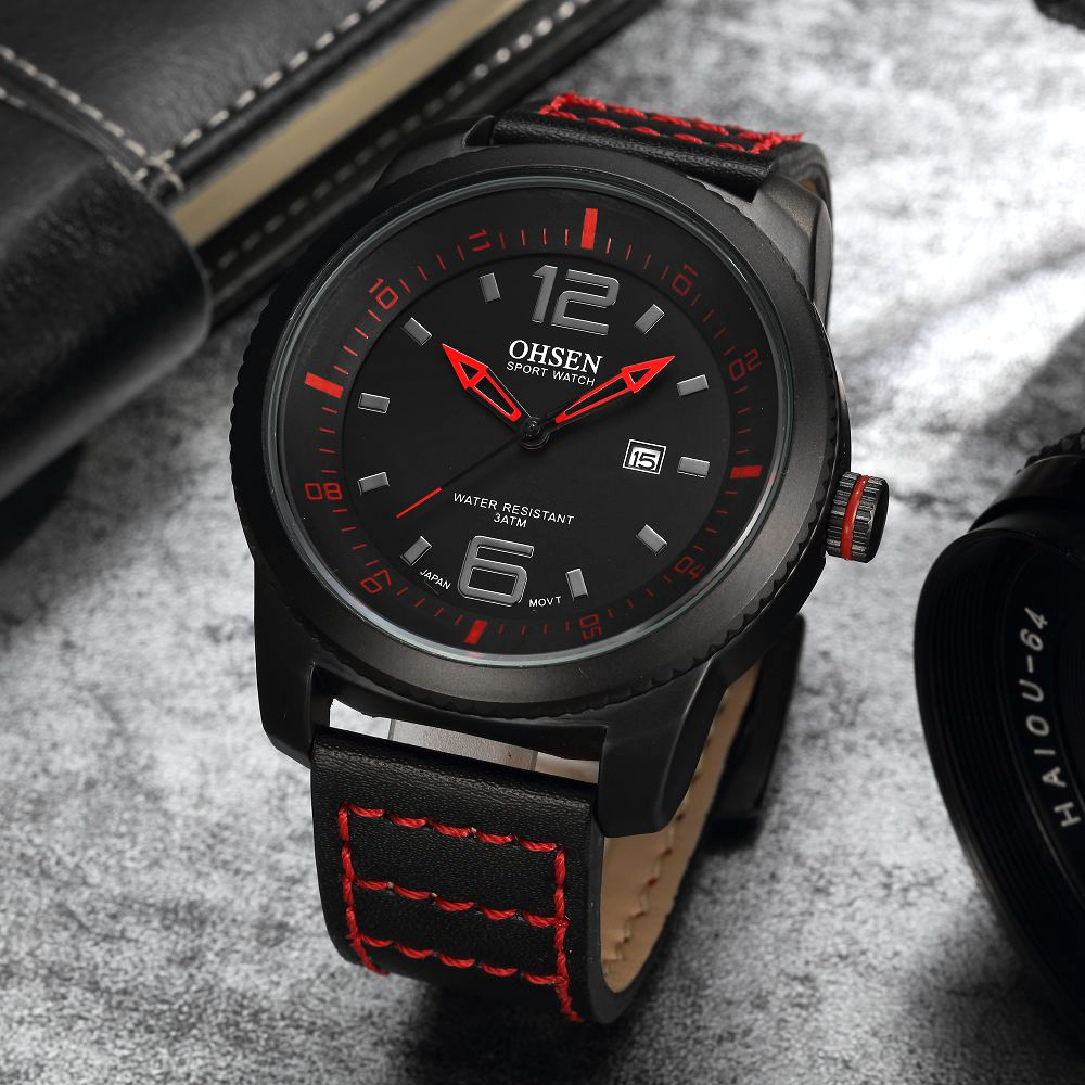 2017 OHSEN Fashion Mens Watches Wristwatch Leisure Style Auto Date Unique Leather Band Watch Man Male Quartz Dress Watch Relogio onlyou men s watch women unique fashion leisure quartz watches band brown watch male clock ladies dress wristwatch black men