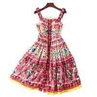 Spring Summer Dress 2017 High Quality Women Designer Runway Dresses Front Beaded Knee Length Printed Spaghetti