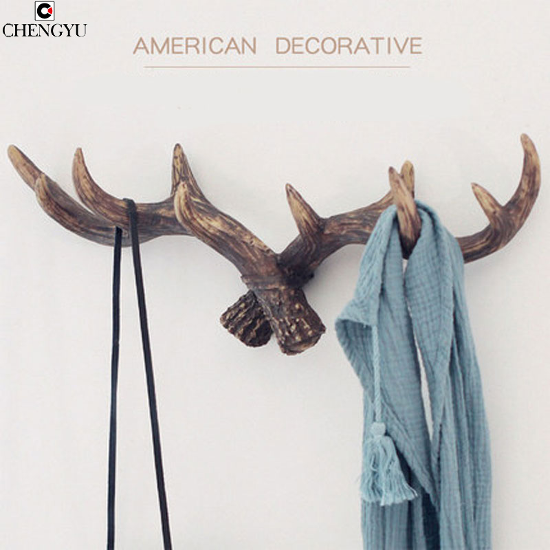 American Style Retro Antlers Decorative Wall Hanging Coat Racks Creative Clothing Store Entrance Door Wall key