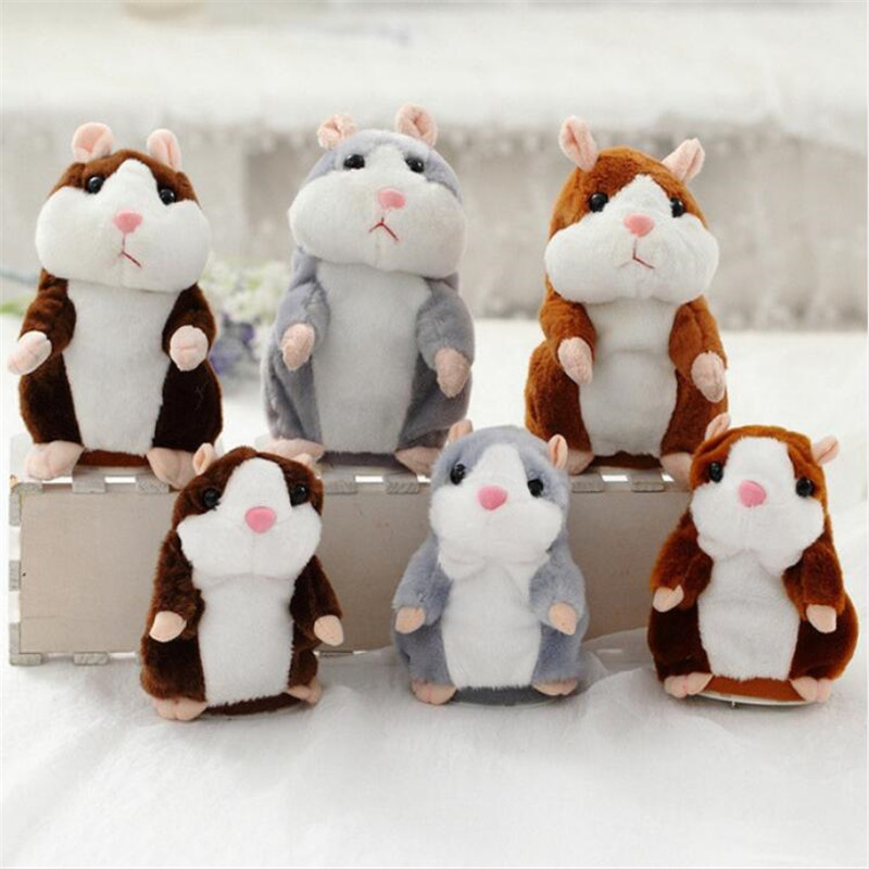Dropshipping 15cm/18cm Lovely Talking Hamster Speak Talk Sound Record Repeat Stuffed Plush Animal Kawaii Hamster Toys Christmas