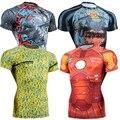 2016 Hombres Del Verano de Secado rápido de Compresión Medias de Manga Corta Camiseta de Fitness Transpirable Tops Alta Calidad 3D Impresiones