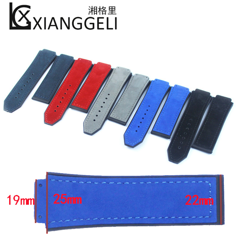 Matte Men's Leather Strap for Hublot Big Bang Series Raised Rubber Strap 25mm*19mm Watch Accessories