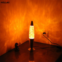 Novelty LED 220v Volcanic Lava Lamp Wax Metal Base Night Light Party Christmas Decorations For Home