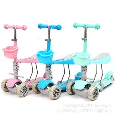 Enfants Équilibre Voiture Scooter Trotteur 1 à 3 ans Sans Pédale Yo Voiture LED Quatre roues LED Tapis Roulant Marche Voiture Équitation Jouets Pour Tout-petits