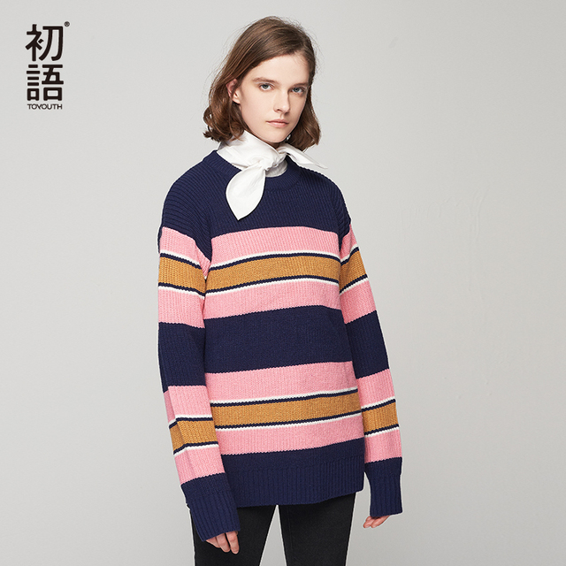 4bb73b35b6e834 Toyouth Striped Long Sleeve Women Pullovers O-Neck Casual Female Sweaters  Loose Stylish Knit Sweater Plus Size Ladies Tops