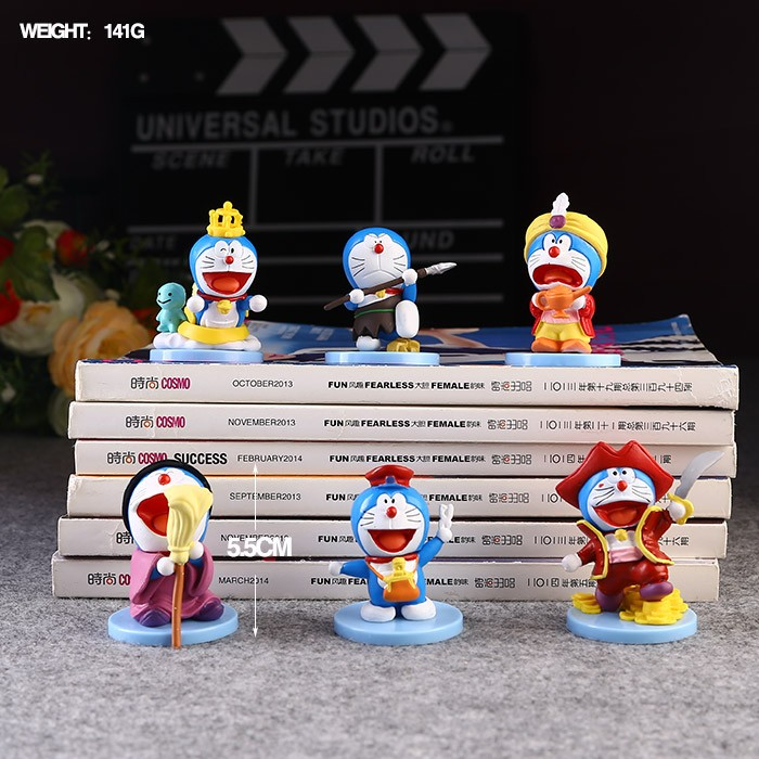 Free Shipping 6pcs Cute Doraemon Anime Doraemon Cosplay Show 6pcs set PVC Action Figure Collection Model Dolls Toy Gift
