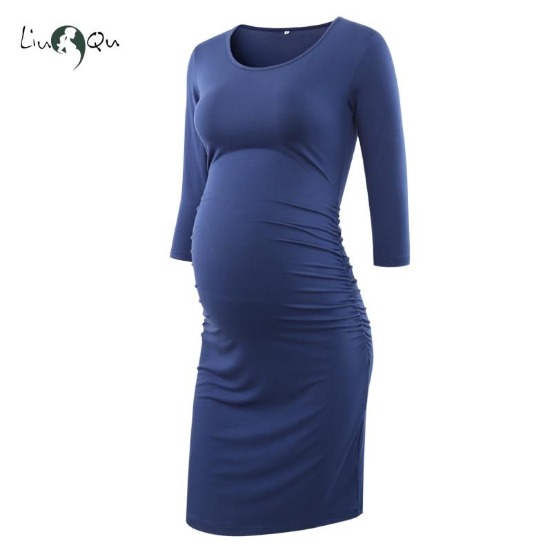 Liu /& Qu Maternity Sleeveless Tank Dress Slim Fit Gown for Pregnant Women