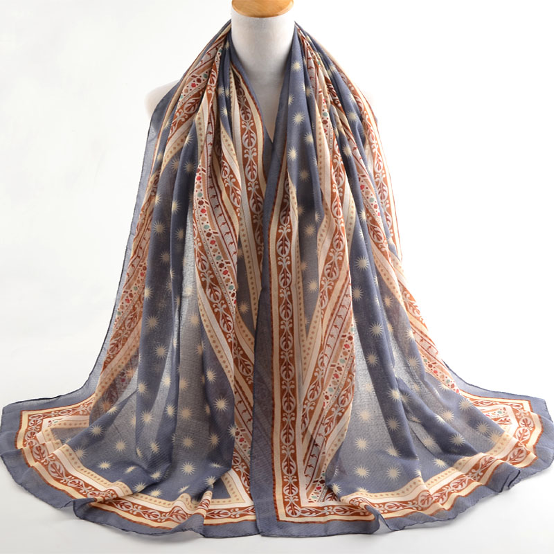 Winter 2019 Cotton Silk Flower Scarf Muslim Wrap Satin Shawls Tie