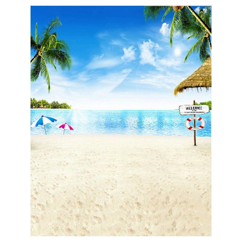 0.9x1.5m Computer Printed Fabric Vinyl Thin Photo Studio Props Photography Backdrops Blue Seaside Beach Sky Clouds Theme Summe