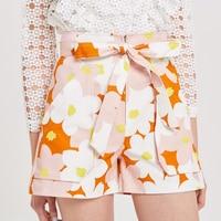 Flower Printed Shorts Women Fahsion 2018 Summer Front Zipper Shorts High Waisted Casual
