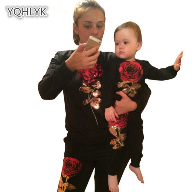 Mom and daughter spring autumn sets family matching casual flower mother kids sports suit boy suit 2 family clothes LK100