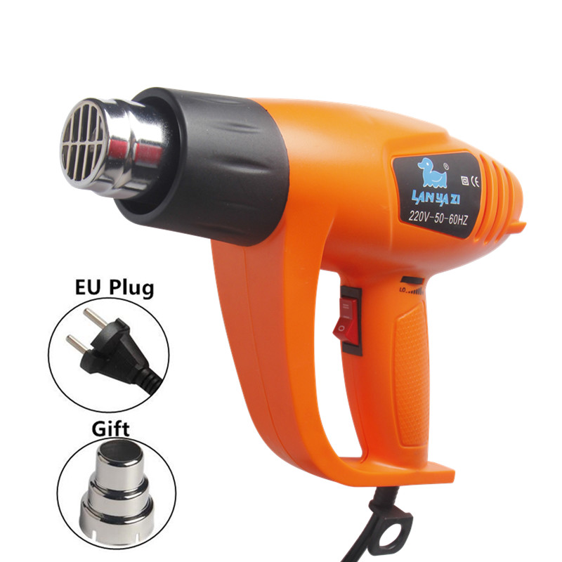LANYAZI Heat Gun 2000W Hot Air Gun Soldering 220V Dual Adjustable Temperature Plastic Welding Kit EU Plug Power Tools eu plug powerful 2000w hot air heat gun with lcd digital display temperature adjustment for plastic welding and soldering tools