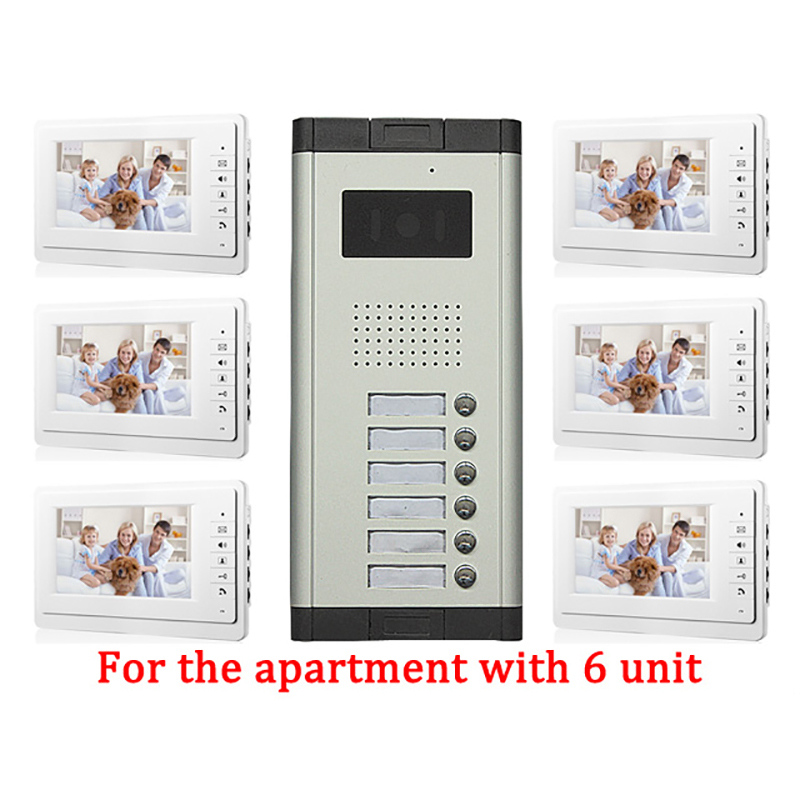 6 Unit Apartment Doorbell Video Intercom apartment intercom entry system 7 Lcd Video Door Phone Intercom
